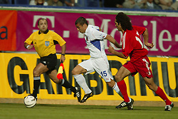 TEPLICE, CZECH REPUBLIC - Wednesday, April 30, 2003: Czech Republic's in action against Turkey during a friendly match at the Teplice Stadion Na Stinadlech. (Pic by David Rawcliffe/Propaganda)