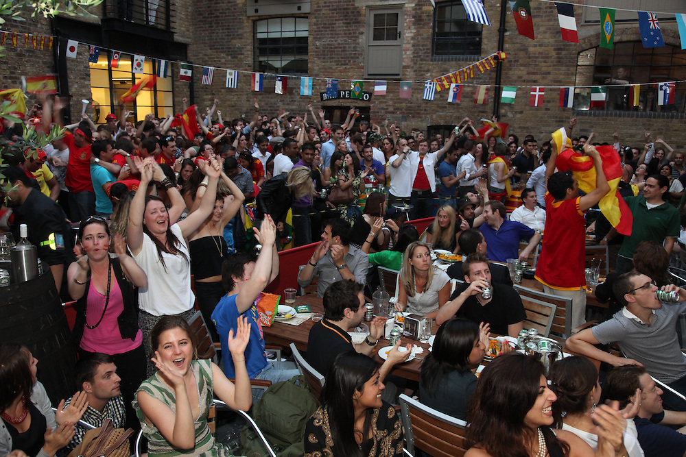 World Cup 2010 watched  on London TV<br /> Spain v Chile, Bar Camino, King's Cross