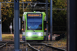 © Licensed to London News Pictures. 18/11/2016<br /> A tram running near Sandilands tram station where the line re-opened at 12.30pm for the first time since the Croydon tram crash last week. Photo credit :Grant Falvey/LNP