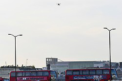 © Licensed to London News Pictures. 30/11/2019. LONDON, UK. A police drone is used to survey the scene at London Bridge.  The previous day, a man, now identified by Metropolitan Police as Usman Khan, who had been released from jail after being convicted of terror offences, was shot by police on London Bridge near Fishmongers' Hall after killing a man and a woman.  London Bridge was closed and people ordered to evacuate abandon their vehicles on the bridge.  Photo credit: Stephen Chung/LNP