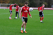 Ben Davies of Wales during the Wales football team training at Hensol Castle, Vale of Glamorgan, South Wales on Tuesday 10th November 2015. the team are training ahead of their friendly against the Netherlands on Friday,<br /> pic by  Andrew Orchard, Andrew Orchard sports photography.
