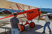 USA, Oregon, Hood River, Western Antique Aeroplane and Automobile Museum, starting a 1929 3C3-T Command Aire.