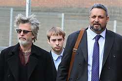 © Licensed to London News Pictures. 09/03/2020. London, UK. RINGO STARR'S grandson SONNY STARKEY (C) leaves Wood Green Crown Court. He along with LIAM GALLAGHER's son, GENE GALLAGHER and  IMG model NOAH PONTE have been charged with affray and and racially aggravated common assault following a late-night incident at a Tesco Express store on Heath Street in Hampstead on May 17 2019. The jury trail is set for Jan 2021. Photo credit: Dinendra Haria/LNP