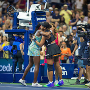 2019 US Open Tennis Tournament- Day Six. Winner Naomi Osaka of Japan and Coco Gauff of the United States embrace after the on court interview after the Women's Singles round three match on Arthur Ashe Stadium during the 2019 US Open Tennis Tournament at the USTA Billie Jean King National Tennis Center on August 31st, 2019 in Flushing, Queens, New York City.  (Photo by Tim Clayton/Corbis via Getty Images)