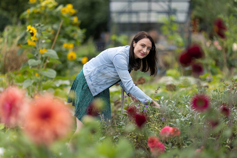 """May0101525 . Daily Telegraph<br /> <br /> DT Weekend<br /> <br /> New Gardeners<br /> <br />  Kirsty Ward at her allotment plot in Lincoln . Kirsty has a wellbeing concept garden at the RHS Chelsea Flower Show 2021 .<br />  The """"Muck's Allotment garden"""" focuses on the therapeutic benefits of gardening .<br /> <br /> London 1 September 2021"""