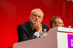© Hugo Michiels Photography. 23/09/2019. Brighton, UK. Leader of the Labour Party and MP for Islington North JEREMY CORBYN listens to the speech of MP and Chancellor of the Exchequer JOHN MCDONNELL at the 2019 Labour Party Conference in Brighton and Hove. Photo credit: Hugo Michiels