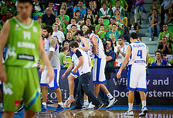 Injured Kostas Papanikolaou #10 of Greece during basketball match between National teams of Greece and Slovenia in Round 2 at Day 11 of Eurobasket 2013 on September 14, 2013 in Arena Stozice, Ljubljana, Slovenia. (Photo by Vid Ponikvar / Sportida.com)