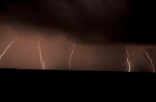 Lightning on prairie in eastern Montana.