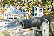Old canon at the Camp Walton schoolhouse and Heritage Park in Fort Walton Beach, Florida.