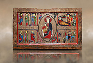 Romanesque Altar Front of Cardet<br /> <br /> Thirteenth century paint and metal relief on wood from a church of Santa Maria of Cardet, Vall de Boi, Alta Ribagorca, Spain<br /> <br /> Acquired by the National Art Museum of Catalonia, Barcelona 1932. Ref: MNAC 3903.<br /> <br /> <br /> This Romanesque painted altar front is dedicated to the Nativity. At is centre is a painting of The Madonna and Child surrounded by a mandorla. Top left shows the Annunciation with the Virgin Mary, top left depicts the nativity scene, bottom left shows the Three Kings and bottom left shows The Flight to Egypt. .<br /> <br /> If you prefer you can also buy from our ALAMY PHOTO LIBRARY  Collection visit : https://www.alamy.com/portfolio/paul-williams-funkystock/romanesque-art-antiquities.html<br /> Type -     MNAC     - into the LOWER SEARCH WITHIN GALLERY box. Refine search by adding background colour, place, subject etc<br /> <br /> Visit our ROMANESQUE ART PHOTO COLLECTION for more   photos  to download or buy as prints https://funkystock.photoshelter.com/gallery-collection/Medieval-Romanesque-Art-Antiquities-Historic-Sites-Pictures-Images-of/C0000uYGQT94tY_Y