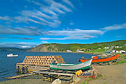 Boats and lobster traps in coastal village<br /> Frenchman Cove<br /> Newfoundland <br /> Canada