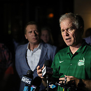 CHARLOTTE NC - APRIL 30: UNCC Police Chief, Jeff Baker, gives an update to the media after a shooting on the University of North Carolina Charlotte campus in University City, Charlotte, NC on April 30, 2019.  His police officers were successfully able to intercept the suspect before he left campus.  (Logan Cyrus for AFP)