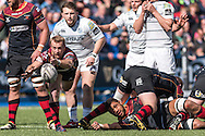 Sarel Pretorius of the Newport Gwent Dragons fires the ball out from the base of the ruck. Guinness Pro12 rugby match, Cardiff Blues v Newport Gwent Dragons at the Cardiff Arms Park in Cardiff, South Wales on Sunday 17th April 2016.<br /> pic by Simon Latham, Andrew Orchard sports photography.