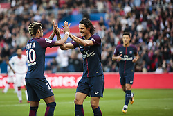 September 30, 2017 - Paris, France - Paris Saint-Germain's Uruguayan forward Edinson Cavani (R) celebrates scoring his team's second goal with Paris Saint-Germain's Brazilian forward Neymar during the French L1 football match Paris Saint-Germain (PSG) vs Bordeaux (FCGB) on September 30, 2017 at the Parc des Princes stadium in Paris. (Credit Image: © Geoffroy Van Der Hasselt/NurPhoto via ZUMA Press)