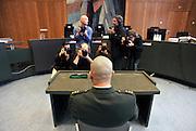 Nederland, Arnhem, 4-4-2011Marco Kroon in de rechtbank voor het bezit van drugs en een stroomstootwapen. Hij wordt bijgestaan door Mr. Geert Jan Knoops.Foto: Flip Franssen/Hollandse Hoogte