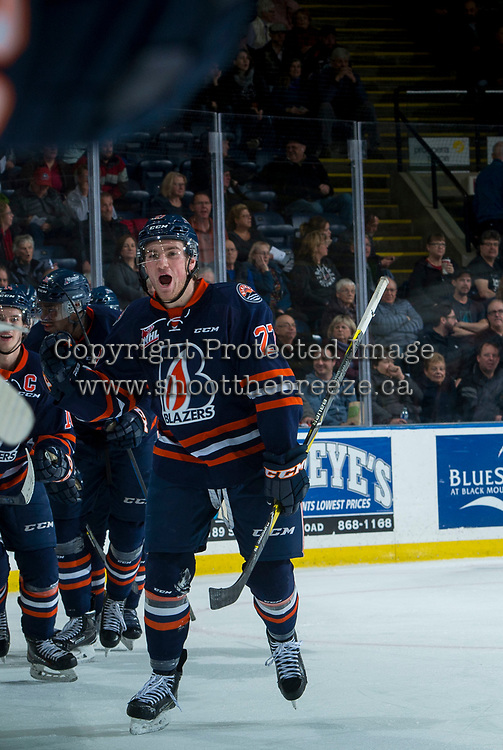 KELOWNA, CANADA - FEBRUARY 24:  Nolan Kneen #27 of the Kamloops Blazers skates to the bench to celebrate the second period tie breaking goal against the Kelowna Rockets on February 24, 2018 at Prospera Place in Kelowna, British Columbia, Canada.  (Photo by Marissa Baecker/Shoot the Breeze)  *** Local Caption ***