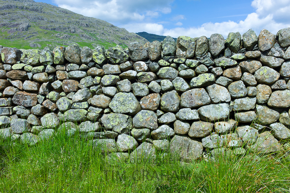 Drystone wall at Hard Knott Pass in the Lake District National Park, Cumbria, UK