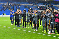 Football - 2018 / 2019 Premier League - Cardiff City vs. Leicester City<br /> <br />  Leicester City  players applaud fans after the match in Leicster's 1st match since the death of Vichai Srivaddhanaprabha, at Cardiff City Stadium.<br /> <br /> COLORSPORT/WINSTON BYNORTH
