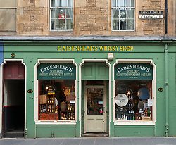 Exterior view of Cadenheads Whisky Shop on Royal Mile at Canongate in Edinburgh Old Town, Scotland, UK
