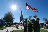 The Salinas Fire Department Color Guard during a Veterans Day ceremony on Wednesday at the Monterey County Vietnam Veterans Memorial in Salinas.