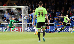 Conor Sammon of Sheffield United (right) scores the opening goal of the game - Mandatory byline: Joe Dent/JMP - 07966386802 - 18/08/2015 - FOOTBALL - ABAX Stadium -Peterborough,England - Peterborough United v Sheffield United - Sky Bet League One