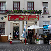 New Loon Moon Supermarket in London Chinatown Sweet Tooth Cafe and Restaurant at Newport Court and Garret Street on 15 June 2019, UK.
