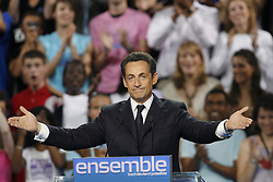"File photo - ""Presidential frontrunner Nicolas Sarkozy adresses tens of thousands of supporters at Paris Bercy concert hall in Paris, France, April 29, 2007. Sarkozy went on the offensive Sunday, charging that he had been unjustly depicted as authoritarian as the battle for the Elysee entered its final week. The rightwinger said he had suffered """"personal attacks"""" during the campaign that had targeted his """"honour, sincerity, personality and character."""" Photo By Bisson-Taamallah-Orban/ABACAPRESS.COM"""