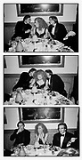 This is a sequence of three   20 x 16 prints.  Could be displayed in separate frames.  Vertically or horizontally.. Liam Neeson , Alex Kingston and Ralph Fiennes  at Steve Tisch &  Vanity Fair's Oscar Night Party,<br /> Mortons,  . March 1994.