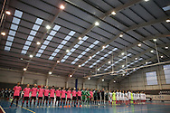 The teams line up ahead of game. England v Scotland match, Home nations Futsal tournament at the Cardiff city House of Sport in Cardiff, South Wales on Friday 2nd December 2016. This inaugural tournament played over 3 days brings together teams from Wales, England, Scotland and Northern Ireland. <br /> pic by Andrew Orchard, Andrew Orchard sports photography.