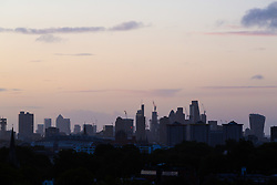 London, September 11 2017. Gentle pastel hues set of the London skyline as a new day breaks over the city. © Paul Davey