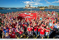 5 July 2013; British & Irish Lions supporters at Hickson Road Reserve Sydney ahead of their side's 3rd test match against Australia on Saturday. British & Irish Lions Tour 2013, Fans in Sydney. Hickson Road Reserve, Sydney, Australia. Picture credit: James Horan / Destination NSW / SPORTSFILE