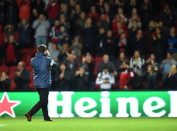 Bristol City head coach Lee Johnson applauds supporters at Ashton Gate Stadium - Mandatory by-line: Paul Knight/JMP - 19/09/2017 - FOOTBALL - Ashton Gate Stadium - Bristol, England - Bristol City v Stoke City - Carabao Cup