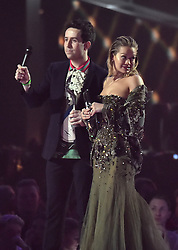 Nick Grimshaw and Rita Ora on stage at the BRIT Awards 2017, held at The O2 Arena, in London.<br /><br />Picture date Tuesday February 22, 2017. Picture credit should read Matt Crossick/ EMPICS Entertainment. Editorial Use Only - No Merchandise.