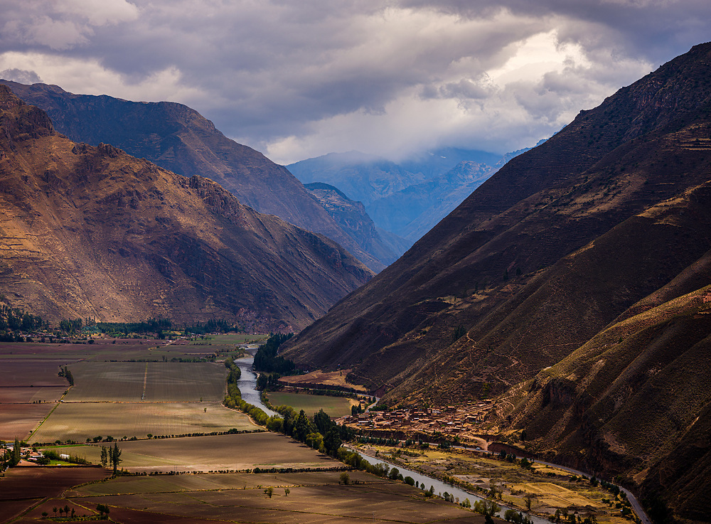 SACRED VALLEY, PERU - CIRCA SEPTEMBER 2019: View of mountains and the Urubamba river in the Sacred Valley, close to Cusco in Peru.