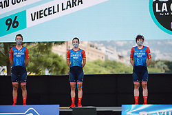 Lara Vieceli (ITA), Ane Santesteban (ESP) and Kathrin Hammes (GER) at the 2020 La Course By Le Tour with FDJ, a 96 km road race in Nice, France on August 29, 2020. Photo by Sean Robinson/velofocus.com