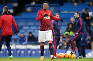 Anthony Martial of Manchester United  looks on during pre match warm up. Barclays Premier league match, Chelsea v Manchester Utd at Stamford Bridge in London on Sunday 7th February 2016.<br /> pic by John Patrick Fletcher, Andrew Orchard sports photography.