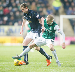 Falkirk's Conor McGrandles and Hibernian's Dylan McGeouch. <br /> Falkirk 1 v 1 Hibernian, Scottish Championship game played 17/1/2015 at The Falkirk Stadium.