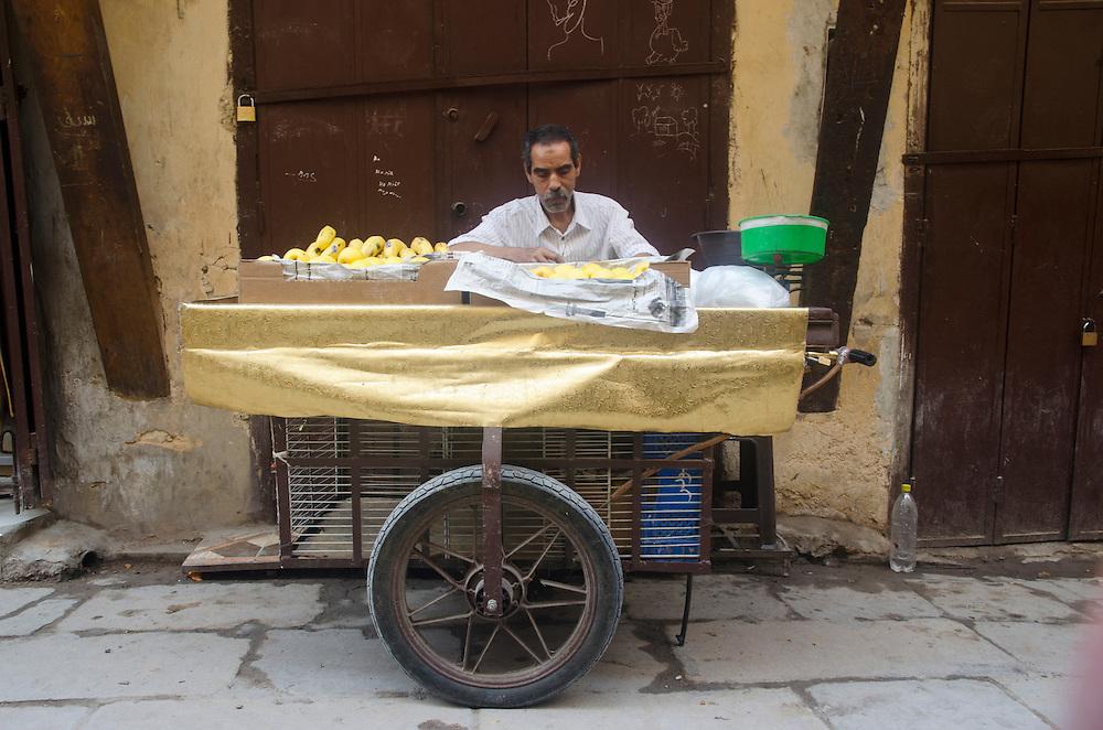 Local man selling bananas, Fes el Bali, Morocco