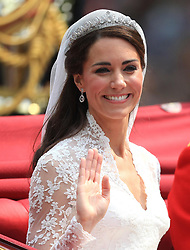 File photo dated 29/04/2011 of the Duchess of Cambridge after her wedding wearing the Cartier Halo tiara. Princess Eugenie may follow in the footsteps of her mother, Sarah Ferguson, Duchess of York, and wear the York diamond tiara on her wedding day.
