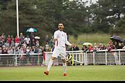 Firat Ersalan celebrates after scoring a penalty for Northern Cyprus. Karpatalya (RED) beat Northern Cyprus (WHITE) 3 -2 in penalties during the Conifa Paddy Power World Football Cup finals on the 9th June 2018 at Queen Elizabeth II Stadium in Enfield Town in the United Kingdom. Team mates from the Turkish Republic of Northern Cyprus  take on the Hungarians in Ukraine for the CONIFA World Football Cup final. CONIFA is an international football tournament organised by CONIFA, an umbrella association for states, minorities, stateless peoples and regions unaffiliated with FIFA. (photo by Sam Mellish / In Pictures via Getty Images)