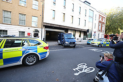 © Licensed to London News Pictures. 21/10/2021. London, UK. An armoured police vehicle acrrying Ali Harbi Ali leaves Westminster Magistrates Court in London. Ali Harbi Ali, a 25-year-old Briton of Somali heritage, is currently detained over the killing of MP Sir David Amess at his Southend constituency. Photo credit: Ben Cawthra/LNP