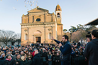 CASTROCARO TERME E TERRA DEL SOLE, ITALY - 5 JANUARY 2020: Matteo Salvini, former Interior Minister of Italy and leader of the far-right League party, is seen here during a rally in Castrocaro Terme e Terra del Sole, Italy, on January 5th 2020.<br /> <br /> Matteo Salvini is campaigning in the region of Emilia Romagna to support the League candidate Lucia Borgonzoni running for governor.<br /> <br /> After being ousted from government in September 2019, Matteo Salvini has made it a priority to campaign in all the Italian regions undergoing regional elections to demonstrate that, in power or not, he still commands considerable support.<br /> <br /> The January 26th regional elections in Emilia Romagna, traditionally the home of the Italian left, has been targeted by Matteo Salvini as a catalyst for bringing down the government. A loss for the center-left Democratic Party (PD) against Mr Salvini's right would strip the centre-left party of control of its symbolic heartland, and probably trigger a crisis in its coalition with the Five Star Movement.