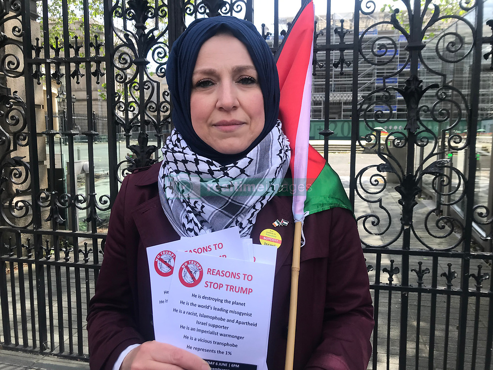 Fatin Al Tamimi, chair of the Ireland Palestine Solidarity Campaign as protesters launch what is expected to be a series of demonstrations across Ireland against the visit of US President Donald Trump with a photocall outside the Irish Parliament.