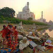 The Taj Mahal seen from the Yamuna river