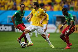 Fred na partida entre Brasil x Camarões, válida pela fase de grupos da Copa do Mundo 2014, no Estádio Maé Garrincha, em Brasíia. FOTO: Jefferson Bernardes/ Agência Preview
