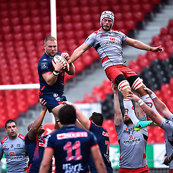 Loic Godener of Grenoble and Luc Barba of Oyonnax during a test match between Grenoble and Oyonnax on August 3, 2017 in Grenoble, France. (Photo by Romain Lafabregue/Icon Sport)