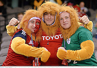 29 June 2013; British & Irish Lions supporters, from left, Ger Barry, from Doon, Co. Limerick, Colin Hall, from Ballina, Co. Tipperary, and Kevin Sheridan, from Kilmaine, Co. Mayo, ahead of the game. British & Irish Lions Tour 2013, 2nd Test, Australia v British & Irish Lions, Ethiad Stadium, Melbourne, Australia. Picture credit: Stephen McCarthy / SPORTSFILE