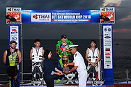 PATTAYA, THAILAND - DECEMBER 09: Mark Gomez of USA and Rickter looks on as the Royal Thai Navy hand over the King's Cup during the Royal Trophy presentation for the Pro Freestyle second run at the Thai Airways International Jet Ski World Cup 2018, Jomtien Beach, Pattaya, Thailand on December 09, 2018. <br /> .<br /> .<br /> .<br /> (Photo by: Naratip Golf Srisupab/SEALs Sports Images)<br /> .<br /> Any image use must include a mandatory credit line adjacent to the content which should read: Naratip Golf Srisupab/SEALs Sports Images