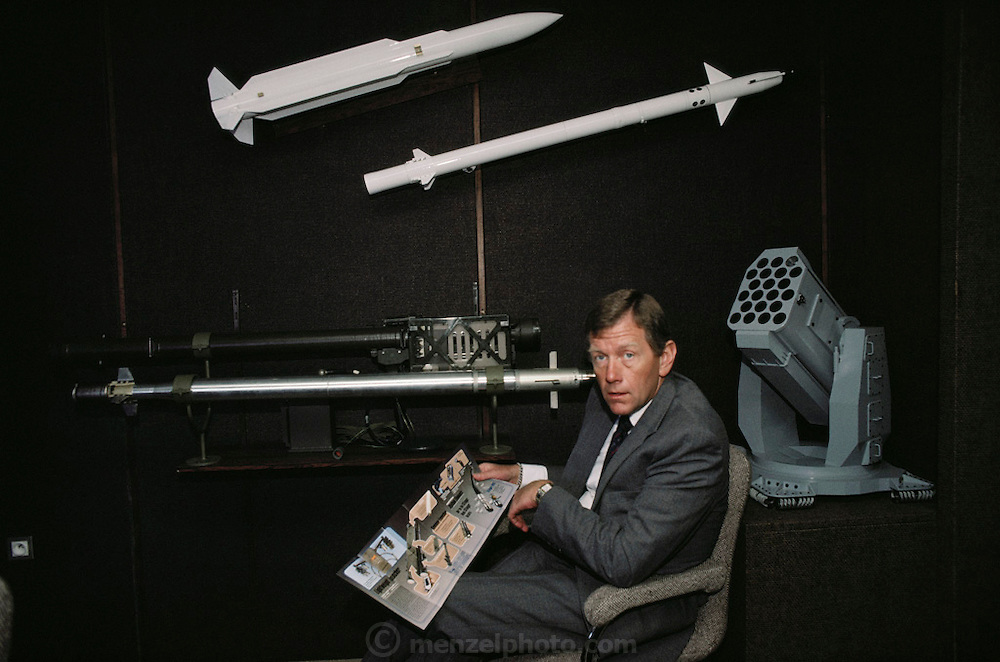 General Dynamics, Stinger Missile salesman at the Paris Air Show, at Le Bourget Airport, France. Held every other year, the event is one of the world's biggest international trade fairs for the aerospace business.