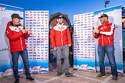 11.02.2021, Cortina, ITA, FIS Weltmeisterschaften Ski Alpin, Super G, Herren, Medaillenfeier, im Bild v.l. Andreas Puelacher (Sportlicher Leiter ÖSV Ski Alpin Herren), Vincent Kriechmayr (AUT, Goldmedaille), Patrick Riml (ÖSV Organisation und Struktur) // left to right: Andreas Puelacher Austrian Ski Association head Coach alpine Men's Gold medal winner and world champion Vincent Kriechmayr of Austria Patrick Riml Austrian Ski Association Organization and structure during the Medal celebration after the mens Super G of FIS Alpine Ski World Championships 2021 in Cortina, Italy on 2021/02/11. EXPA Pictures © 2021, PhotoCredit: EXPA/ Johann Groder
